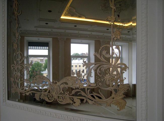 Пескоструйное зеркало